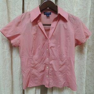 Ann Taylor pink short sleeve button down shirt